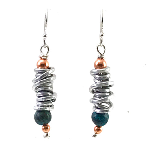 Aluminum spiral with copper & chrysocolla bead design earrings