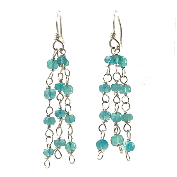Delicate dangling fluorite and sterling silver earrings