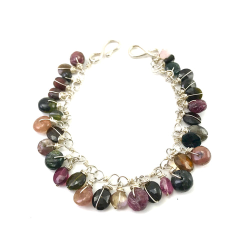 Sterling silver chain Gypsy Bracelet with Tourmaline stones, 8 inches
