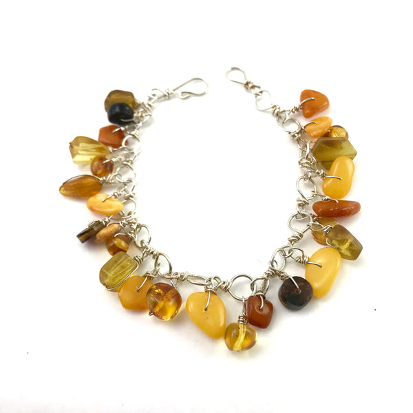 Sterling silver chain Gypsy Bracelet with Amber stones, 8 inches