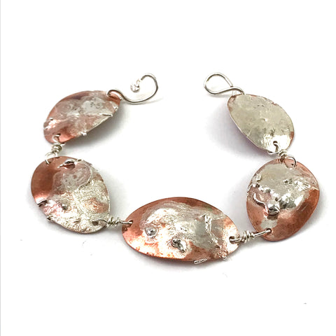 Copper pennies with fused sterling silver bracelet, 8 inches