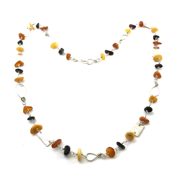 Sterling Silver necklace with Amber stones, 24 inches