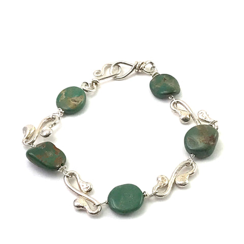 Sterling Silver lilydrop Gypsy bracelet with turquoise stones, 8 inches
