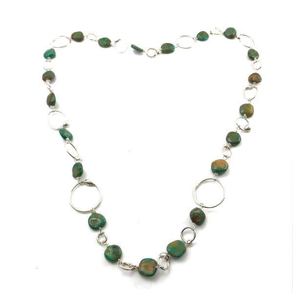 Sterling Silver necklace with turquoise stones, 26 inches