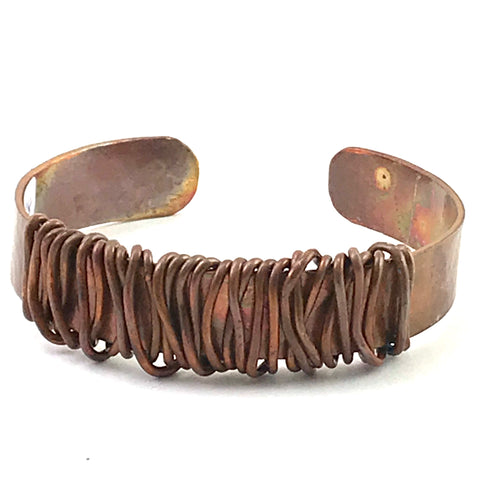 Copper cuff bracelet with copper wire wrap, width 1/2 inch