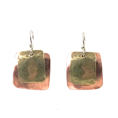 Copper square with brass rectangle design earrings