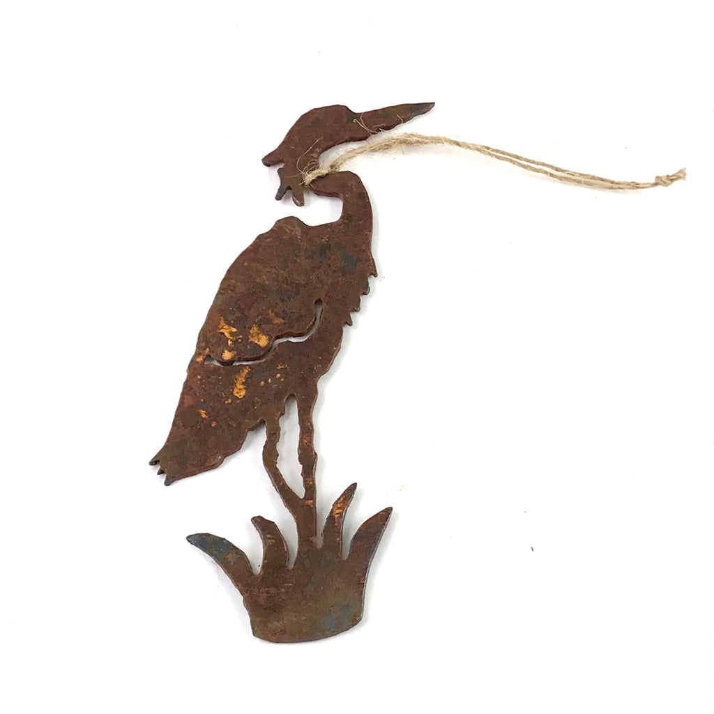 Rusted Steel hanging Heron, 5 1/2 x 2 inches - Side Street Studio