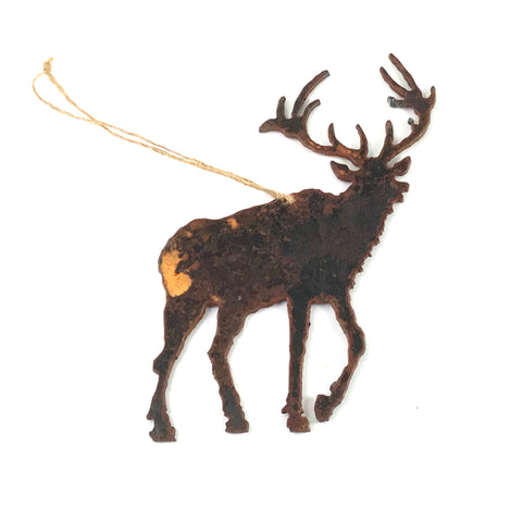 Rusted Steel hanging Elk, 5 1/2 x 4 inches - Side Street Studio