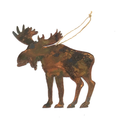 Rusted Steel hanging Moose, 5 x 5 inches - Side Street Studio