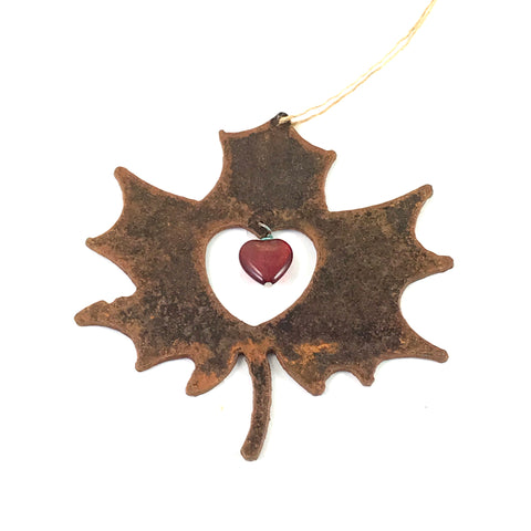 Rusted Steel hanging Maple Leaf with Red Heart, 4 x 4 inches - Side Street Studio