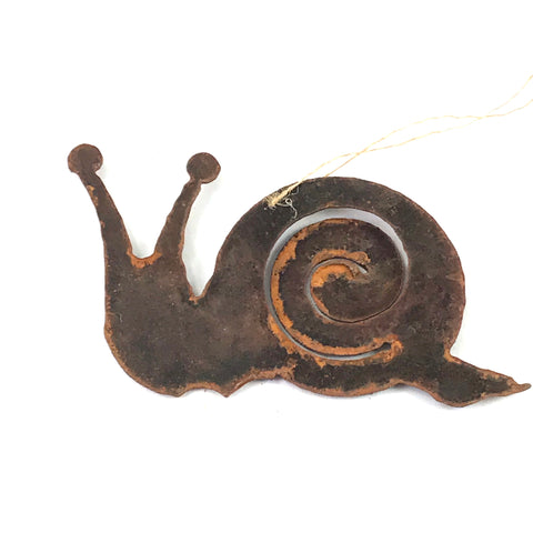 Rusted Steel hanging Snail, 5 x 3 inches - Side Street Studio