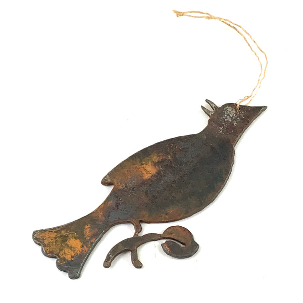 Rusted Steel hanging Blue Jay, 5 x 2 1/2 inches - Side Street Studio