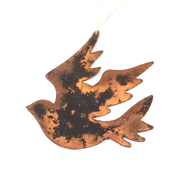 Rusted Steel hanging Dove, 3 1/2 x 3 1/2 inches - Side Street Studio