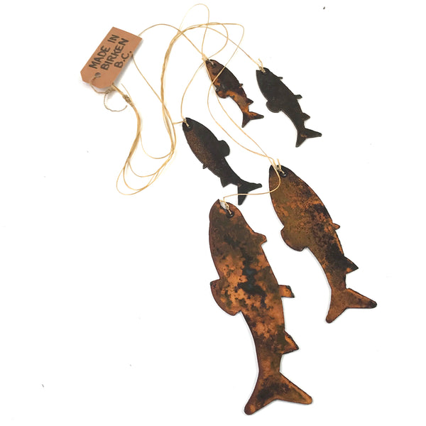 Rusted Steel Fish Kite tail, 21 inches - Side Street Studio