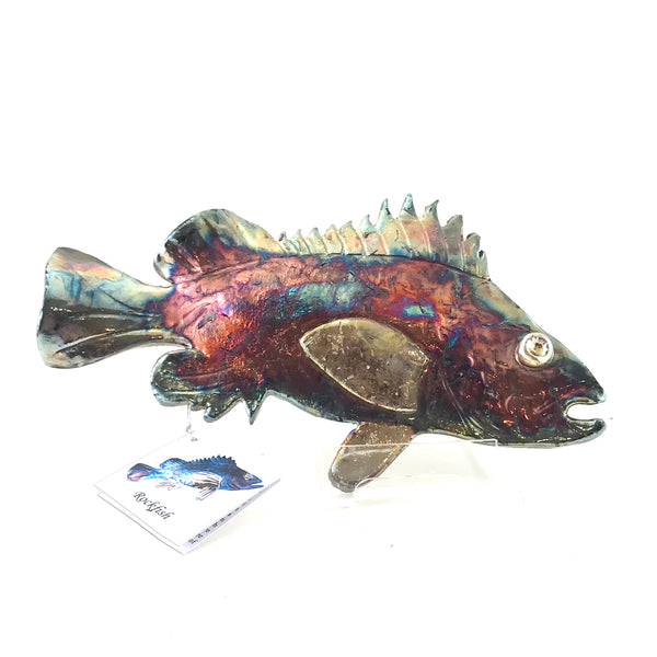 Small Raku Rockfish, 9 inches - Side Street Studio