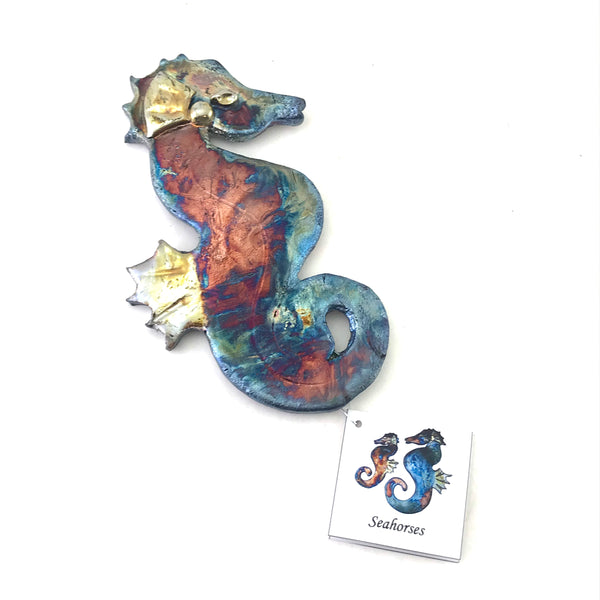 Small Raku Seahorse, 7 inches - Side Street Studio
