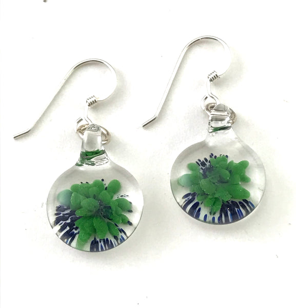Glass button earrings with green/ blue floral design - Side Street Studio
