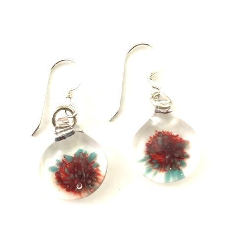 Glass button earrings with red grey floral design - Side Street Studio