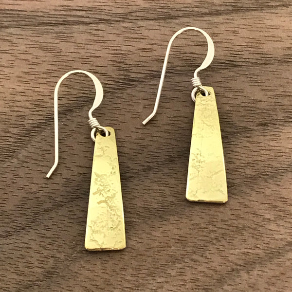 Brass earrings with textured small trapeze shapes - Side Street Studio