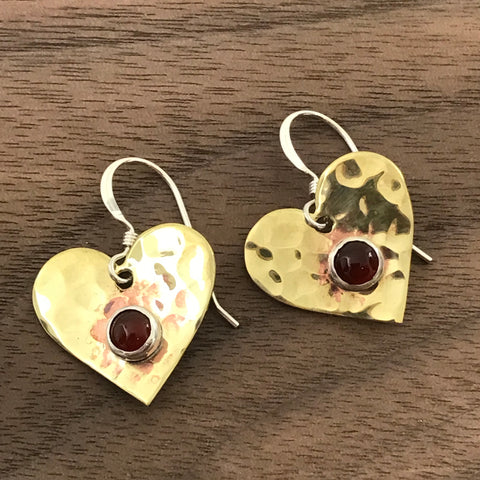 Brass earrings hammered heart shape with carnelian stone - Side Street Studio