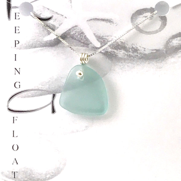 Glass fishing float dot design pendant necklace - Side Street Studio