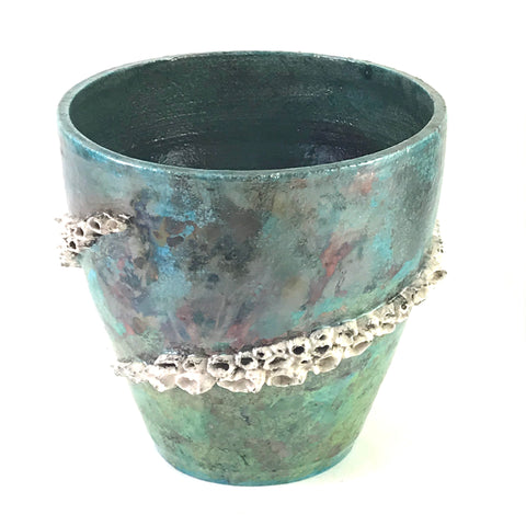 Raku large Barnacle pot in ocean green - Side Street Studio