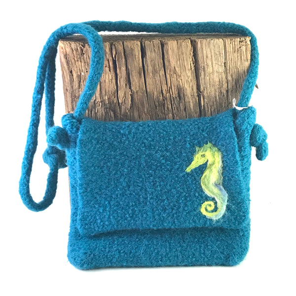Siegfried the Seahorse, knitted teal hand bag - Side Street Studio