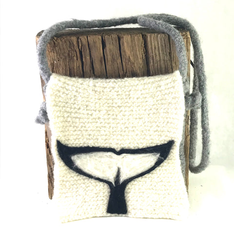 Whale Tail, knitted Grey and Creme hand bag - Side Street Studio