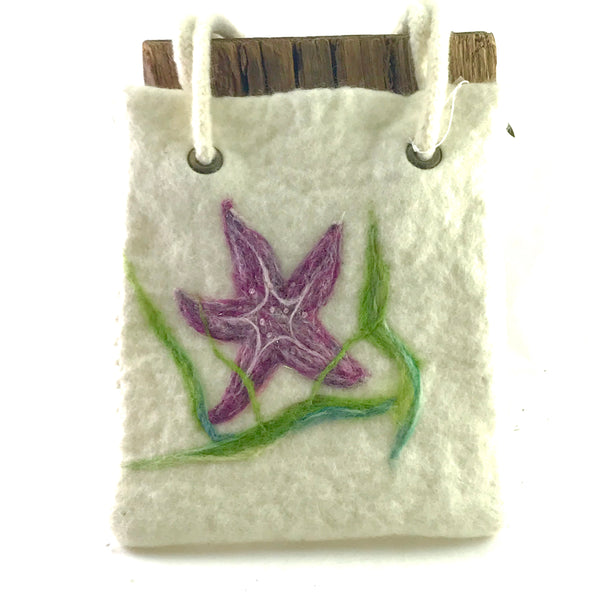Superstar Starfish, Wet felted wool Creme hand bag - Side Street Studio
