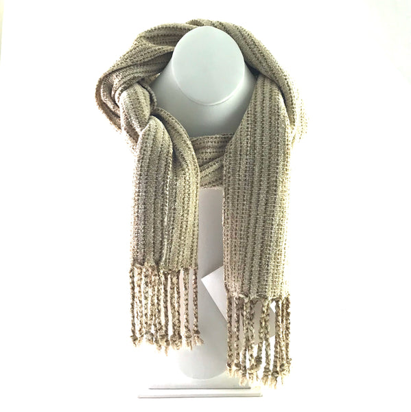 Soft Hand Woven Scarf in Cream and Gold - Side Street Studio
