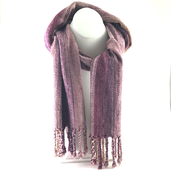 Soft Hand Woven Scarf in Rose and Pinks - Side Street Studio