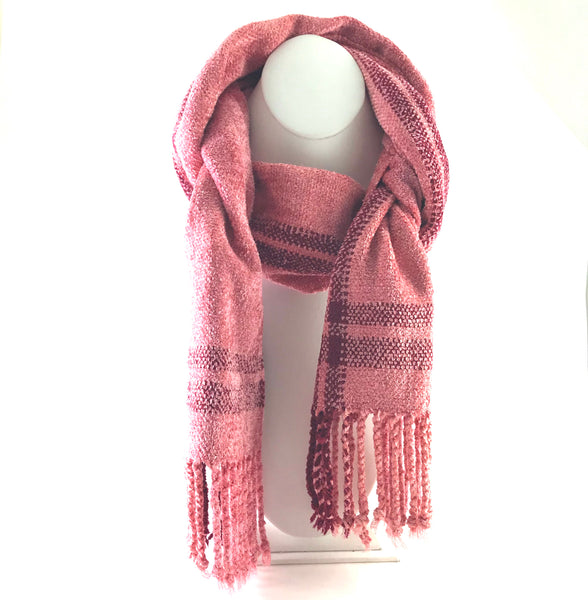 Soft Hand Woven Scarf in Coral and Red - Side Street Studio