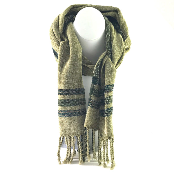 Soft Hand Woven Scarf in Mustard Green, Black and Brown - Side Street Studio