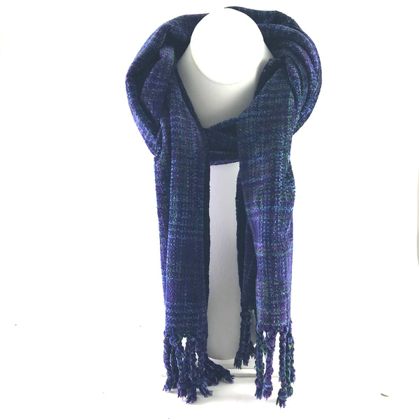 Soft Hand Woven Scarf in Purple, Navy Blue and Green - Side Street Studio