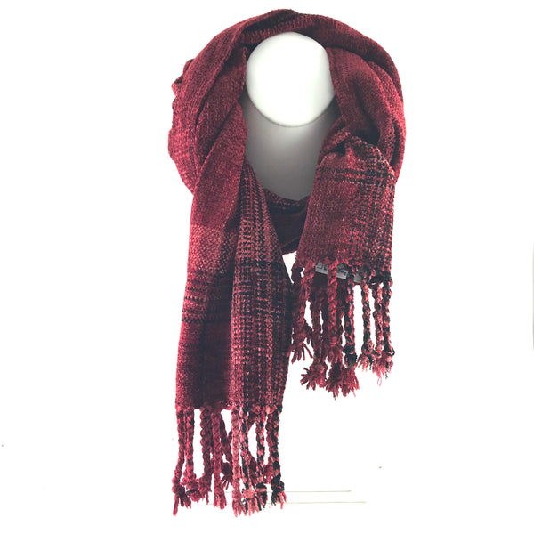 Soft Hand Woven Scarf in Burnt Red and Black - Side Street Studio