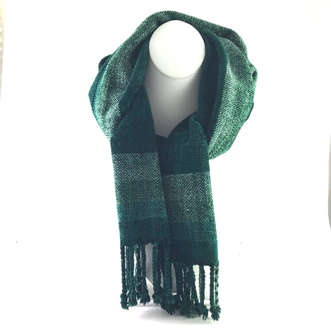 Soft Hand Woven Scarf in Dark and Light Green - Side Street Studio
