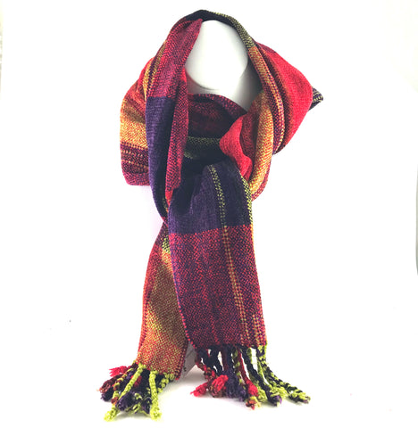 Soft Hand Woven Scarf in Red, Purple, Gold Squares - XL - Side Street Studio