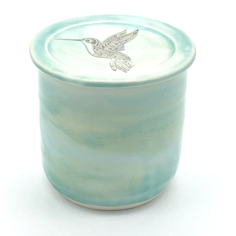 Pottery French Butter Dish Ocean Shores Hummingbird Design