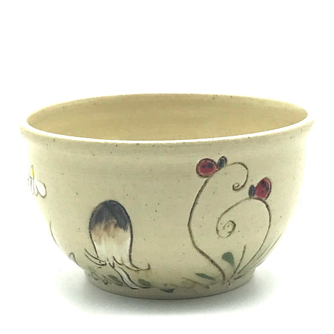 Ceramic Bowl with Brown and White Mushrooms with Fringe