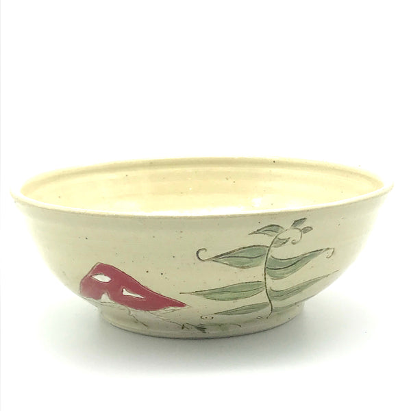 Ceramic Bowl with Red and White Mushrooms,