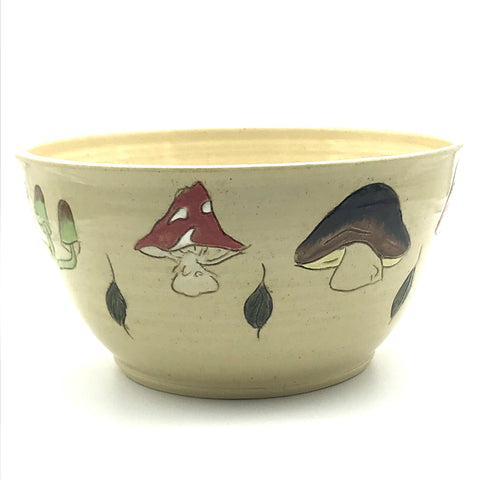Ceramic Bowl with Assorted Mushrooms