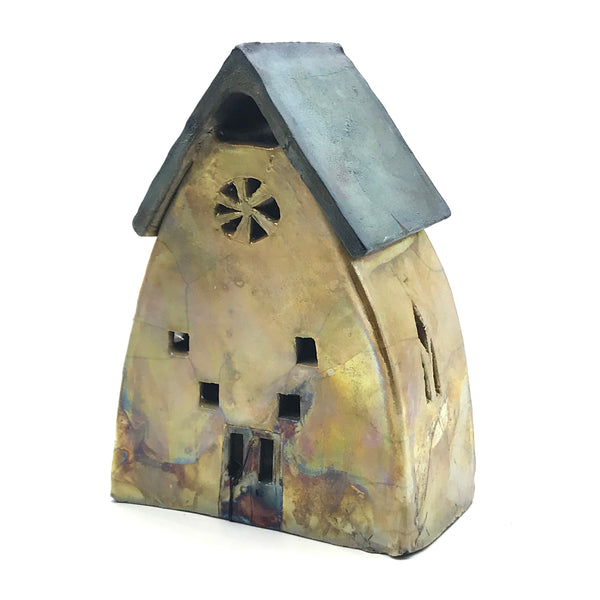 Ceramic house lantern Large Gold Raku design