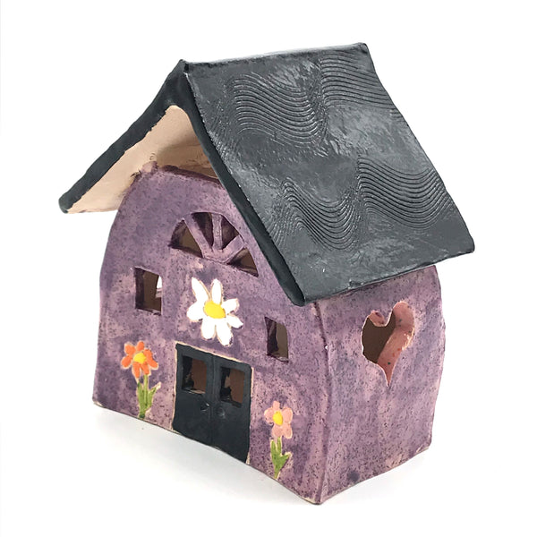 Ceramic house lantern Purple with Flowers design