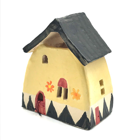 Ceramic house lantern Small Banana Yellow with Red Door design