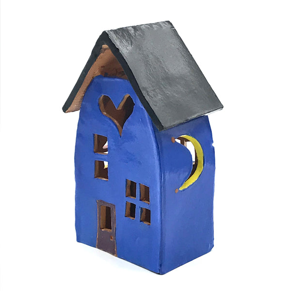 Ceramic house lantern Tall Bright Blue with Heart cut out design