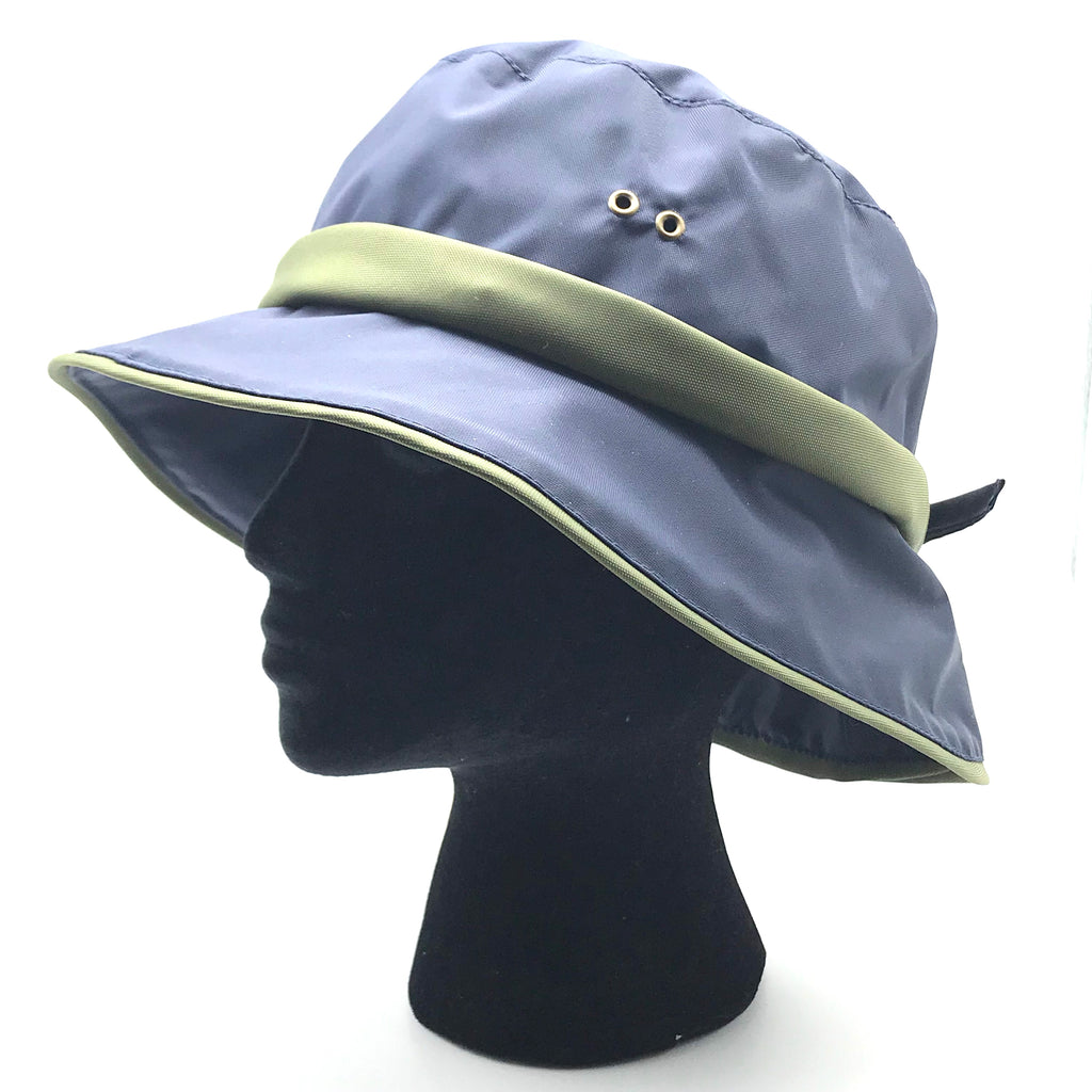 Casual Rain Sport Hat in Blue with Green Trim