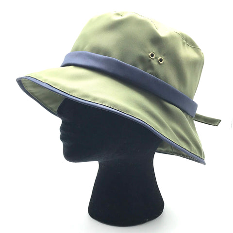 Casual Rain Sport Hat in Green with Blue Trim