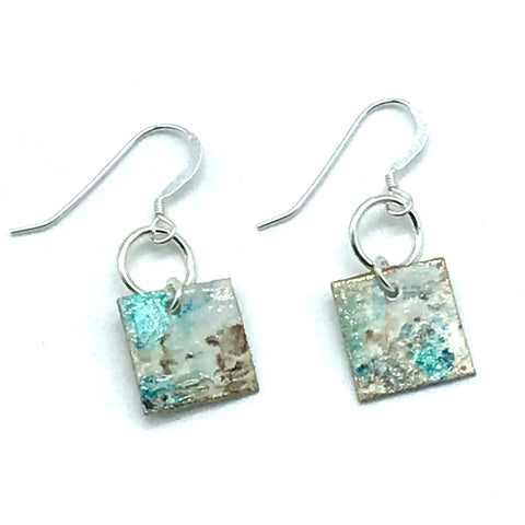 Square Hand Painted Earrings in Shades of Aqua and Earth
