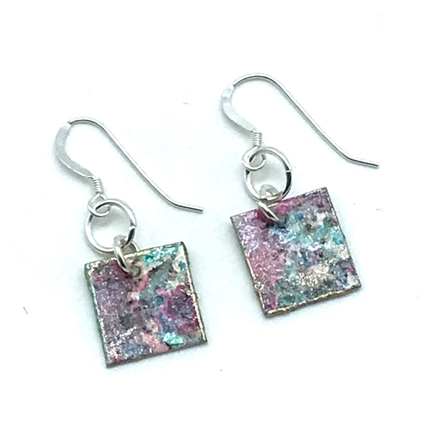 Square Hand Painted Earrings in Shades of Pink and Blues