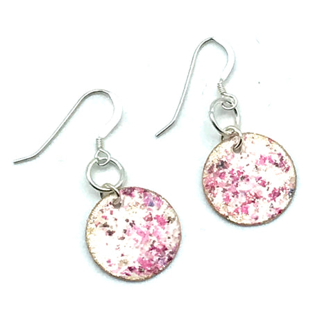 Round Hand painted Earrings in Speckled Pinks